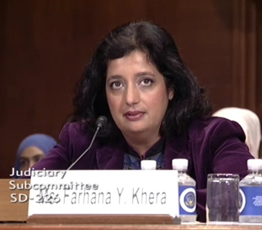 Farhana Khera testifies at Senate hearing June 28, 2016 (Screenshot Senate Judiciary Committee video).