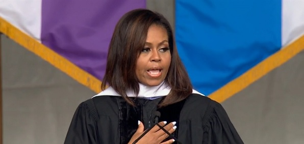 First lady Michelle Obama gives a speech at City College