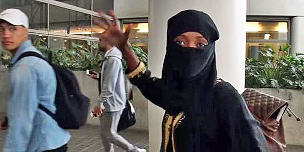 A Muslim woman says she will personally bomb America during an interview at Los Angeles International Airport on June 14, 2016 (courtesy Tony Vera video)