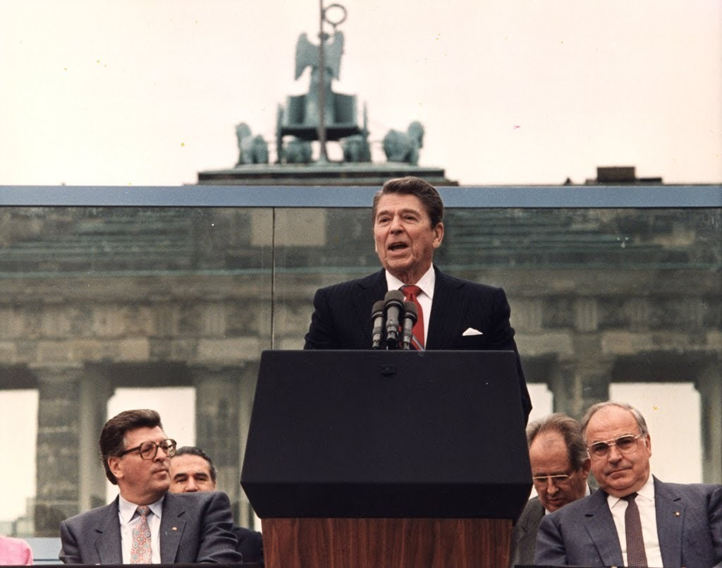 "President Reagan in Berlin on June 12, 1987 delivers speech in which he says, """"Mr. Gorbachev, tear down this wall"""