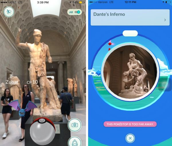 From hyperallergic.com: Pokémon Go screens at Metropolitan Museum of Art/photos @jeanettehayes/Instagram and @museummammy/Twitter)