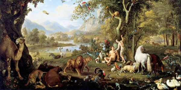 """Adam and Eve in the Garden of Eden"" (excerpt) by Peter Wenzel (1745-1829)"