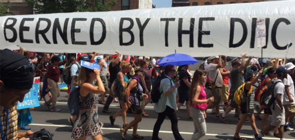 Hundreds of Bernie Sanders supporters march outside DNC (Photo: Twitter)
