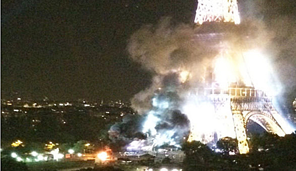 Eiffel Tower appears to be burning in Paris after firework truck ignites, London's Express reports