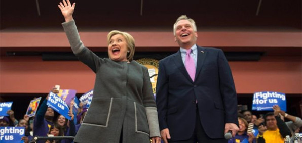 Virginia Gov. Terry McAuliffe and Democrat nominee Hillary Clinton (Photo: Twitter)