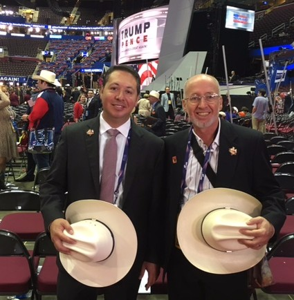Texas delegates Rey Gonzalez, left, and Brad Burkes at the RNC July 21, 2016 (WND photo)