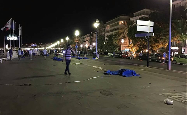 Images of the aftermath surfaced on social media following an attack in Nice, France, in which a truck plowed into a crowd of people (Photo: Twitter)