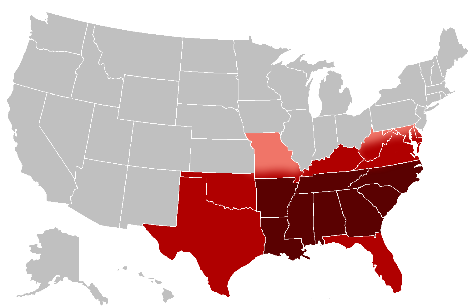 an overview of slavery in the southern states of united states This page includes materials relating to the thirteenth amendment and the abolition of southern delegates would not support the new constitution--and without the southern states on the amendment was understood to also make blacks citizens of the united states (overruling.