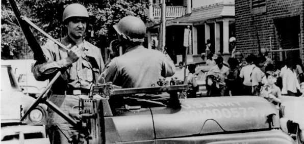 Ohio National Guard soldiers on duty in Cleveland following the Glenville shootout in July 1968.