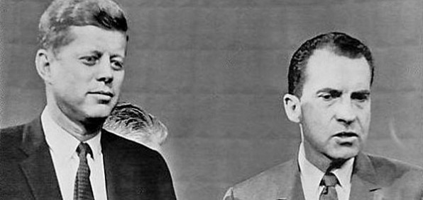 John F. Kennedy and Richard M. Nixon at their first televised debate in 1960