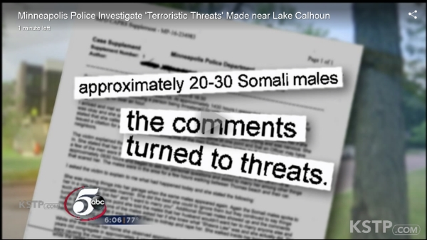 Screen shot of KTSP TV Channel 5 report in Minneapolis reveals 'Somali males' entered and harassed neighbors near Lake Calhoun. No mention of 'Somalis' appeared in the verbal or written TV reports and the city's largest newspaper, the Star-Tribune, ignored the story.