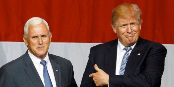 Gov. Mike Pence, R-Ind., and GOP presidential candidate Donald Trump