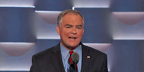 Sen. Tim Kaine accepted the vice presidential nomination at the Democratic National Convention in Philadelphia, July 27, 2016.