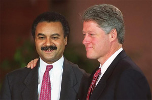 Bill Clinton and Commerce Secretary Ron Brown