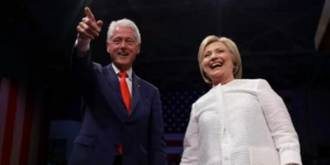 Former President Bill Clinton with former Secretary of State Hillary Clinton