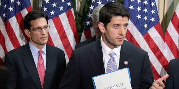 Former House majority leader Eric Cantor and House Speaker Paul Ryan