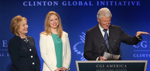 Hillary, Chelsea and Bill Clinton at a Clinton Foundation event
