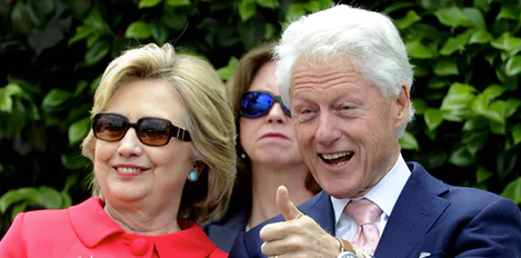 Democratic Party nominee Hillary Clinton and President Bill Clinton