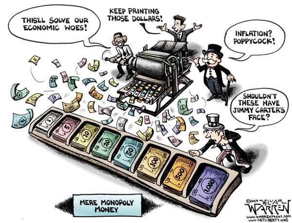 "This editorial cartoon deconstructs the theory behind the American financial system as defined by ""quantitative easing"""