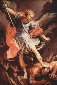 """St. Michael tramples Satan"" by Guido Reni"