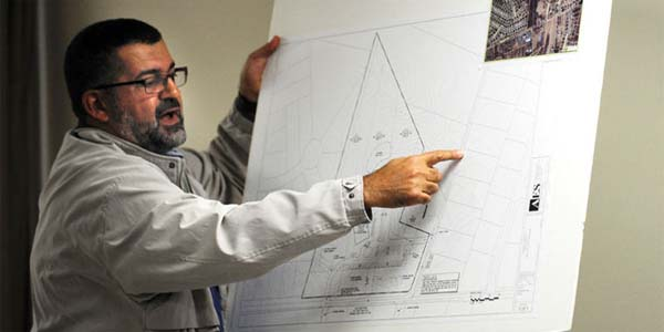 Samer Shalaby, the imam at Islamic Society of Fredericksburg, presents plans for new mega-mosque outside of town in Spotsylvania last year. The mosque is now considering scrapping the plan and adding on to its existing mosque. (Photo: Twitter)