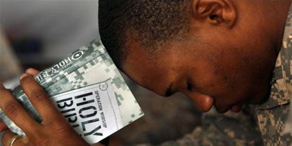 Soldier praying