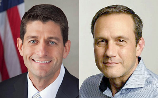 House Speaker Paul Ryan, left, was challenged in 2016 Wisconsin primary by businessman Paul Nehlen, right.