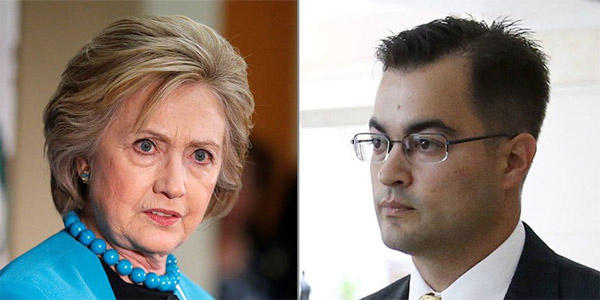 Democratic Party nominee Hillary Clinton and Clinton's former IT aide, Bryan Pagliano (Photo: Twitter)