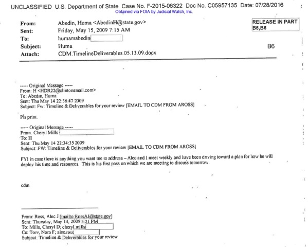 JUDICIAL WATCH cheryl mills personal email #3 ALEC ROSS HEAVILY REDACTED