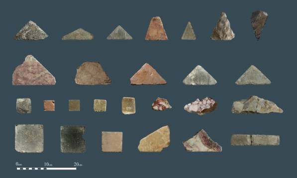 Some of the 100 cut and polished stones discovered by the Temple Mount Sifting Project. They fit together to form opulent floor tiles during the Herodian period of ancient Rome and would have been used in the Jewish Temple complex but whether these came from the actual temple or a nearby building is not known.