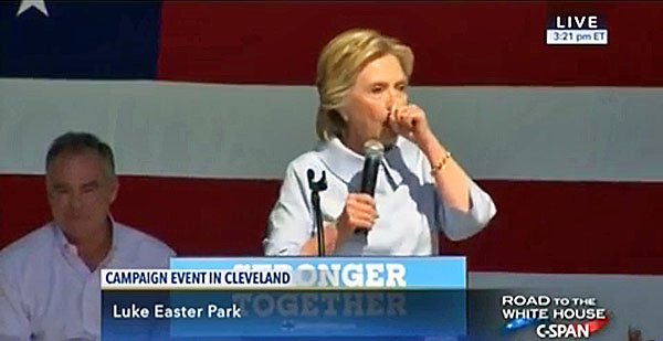Hillary Clinton suffers a coughing fit during a campaign speech in Cleveland, Ohio, on Labor Day, 2016