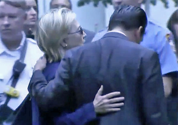Hillary Clinton receives help walking away during a ceremony on Sept. 11, 2016 (Fox News)