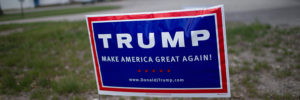 SCHNEIDER, IN - MAY 03:  A campaign sign displaying support for Republican presidential candidate Donald Trump sits near a polling place May 3, 2016 in Schneider, Indiana. Indiana residents are voting today to decide Republican and Democratic presidential nominees.  (Photo by Scott Olson/Getty Images)
