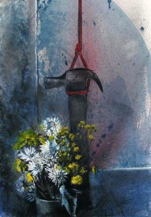 """Hammer, Suspended"" from ""Troubadours Sailing Hibiscus Seas""painting by Judith Gait, commentary by Father X"