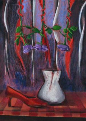 """On Abortion: Shoe, Pot and Crosses"" from ""Troubadours Sailing Hibiscus Seas""painting by Judith Gait, commentary by FatherX"