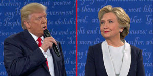 Donald Trump and Hillary Clinton in the second presidential debate.