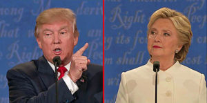 Presidential candidates Donald Trump and Hillary Clinton at their third debate