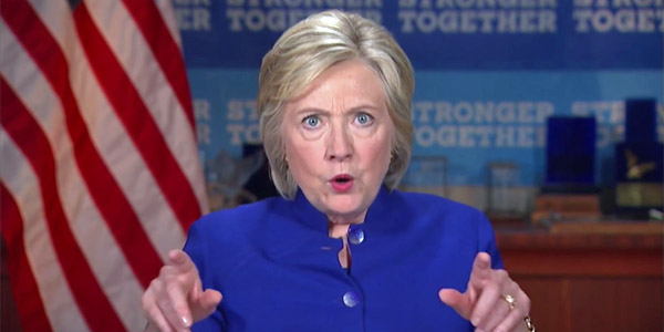 Democratic Party presidential nominee Hillary Clinton rips Donald Trump during a video conference of the Laborers' International Union of North America (Photo: screenshot)