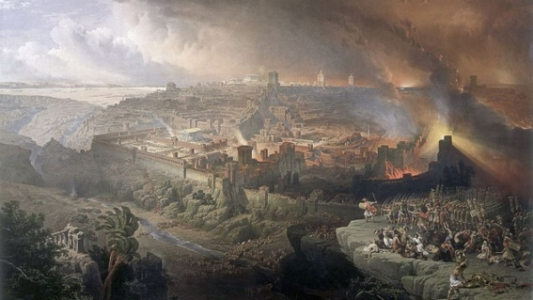 Rendition of the Roman destruction of Jerusalem in 70 A.D.