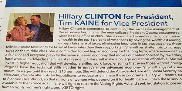 Fairfax County, Virginia, voter Jena Jones told WND and Radio America she found this Democrat insert included with her absentee ballot, among others