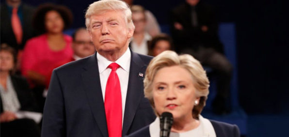 Donald Trump and Hillary Clinton at Oct. 9 presidential debate (Photo: Twitter)