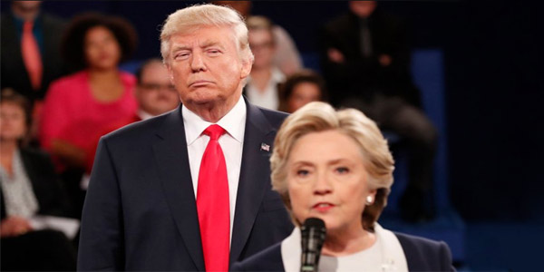 Donald Trump and Hillary Clinton at Oct. 9, 2016, presidential debate (Photo: Twitter)