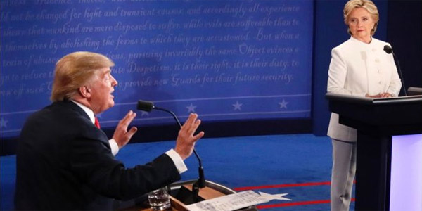 GOP nominee Donald Trump and Democrat nominee Hillary Clinton in third presidential debate (Photo: Twitter)