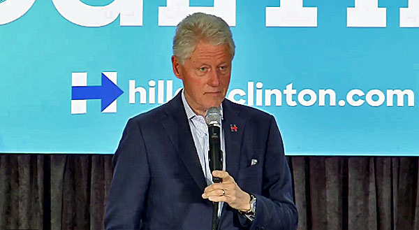 "Bill Clinton reacts to being called a ""rapist"" while campaigning for his wife Saturday, Oct. 8, 2016."