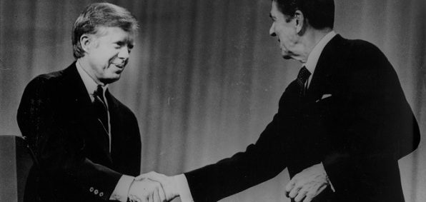 Jimmy Carter and Republican candidate Ronald Reagan shake hands at the conclusion of the Presidential Debate, Oct. 28, 1980