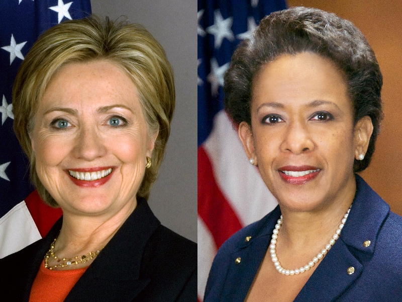 Democratic presidential nominee Hillary Clinton and Attorney General Loretta Lynch