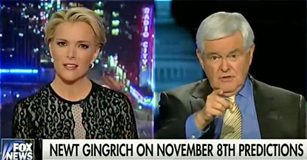 Megyn Kelly of Fox News and former U.S. House Speaker Newt Gingrich