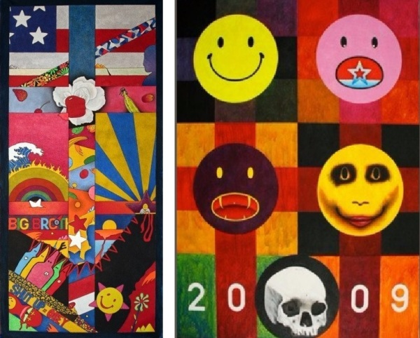 "Left: ""Crossover"" 2014 – 30″ x 15″ Sharpie pen & acrylic on canvas; Right: ""Year the Pretense Died"" – 48"" x 36"" 2009 acrylic gird painting;both by Alvaro Alvillar"
