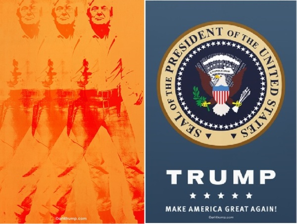 Left: 2ATrump; Right: one of a series of pro-Trump images created by Mike Slobot