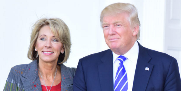 After meeting with several candidates, Donald Trump announces he intends to nominate Betsy DeVos as secretary of the Department of Education.